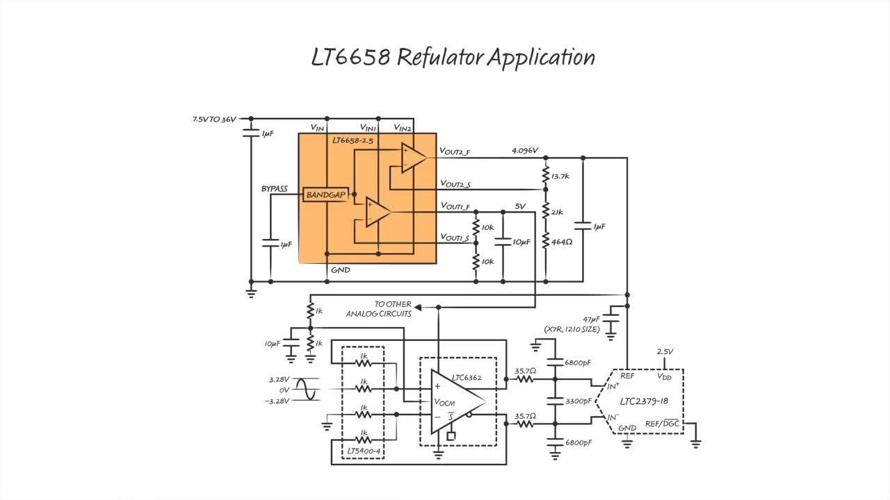 LT6658 Precision Dual Output, High Current, Low Noise, Low Drift Reference
