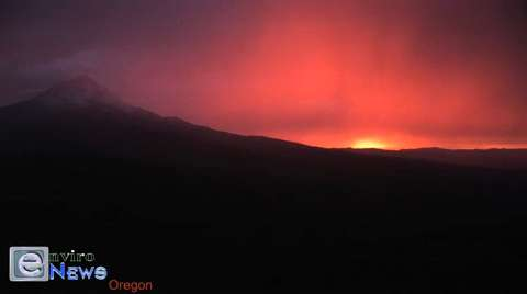 A Rare and Fire-Red Sky is Taped Over Mt. Hood Oregon