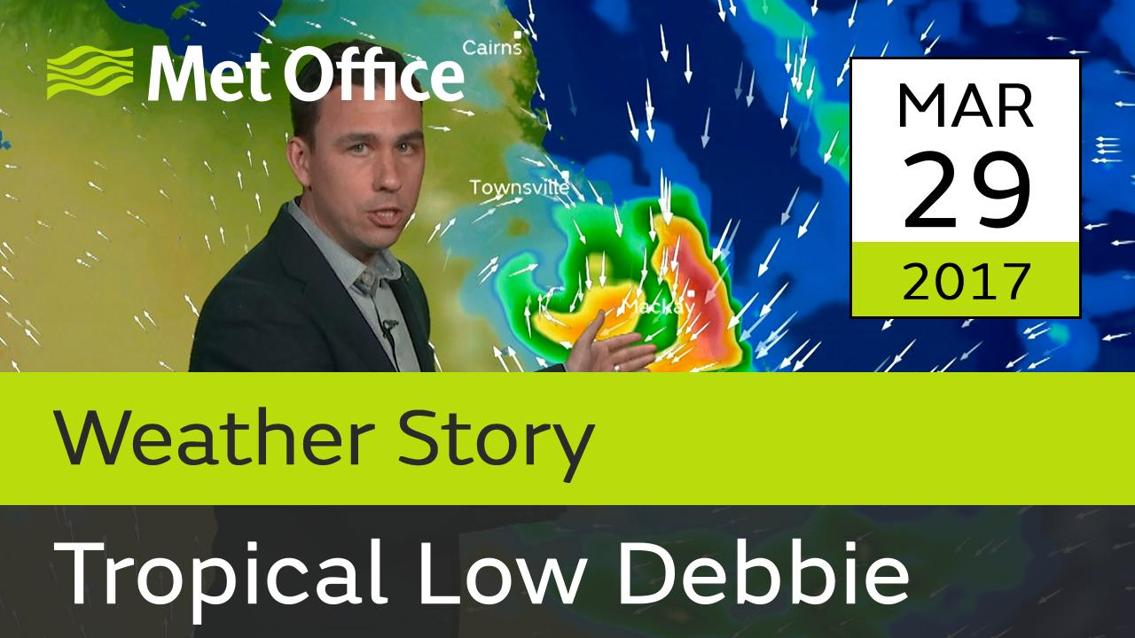 Aidan has the latest on Ex-Tropical Cyclone Debbie, which slammed into Queensland on Tuesday. Now downgraded to a Tropical Low, further torrential rainfall and a risk of flooding is expected over the next few days in Queensland and New South Wales.