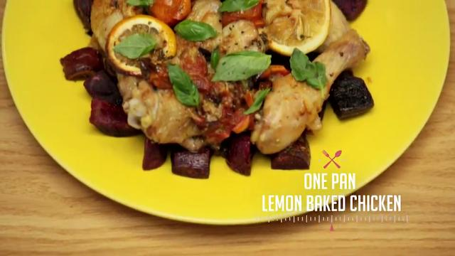 One Pan Lemon Baked Chicken | Kitchen Quickies