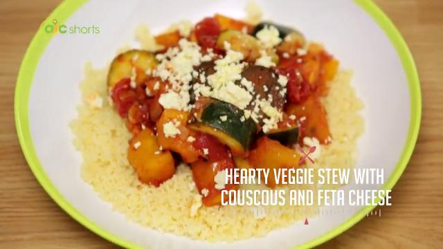 Hearty Veggie Stew with Couscous and Feta Cheese | Kitchen Quickies