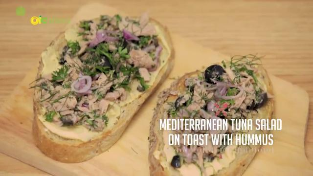 Mediterranean Tuna Salad on Toast with Hummus | Kitchen Quickies