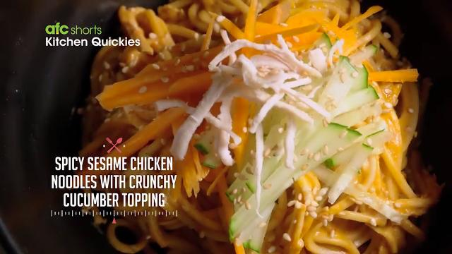Spicy Sesame Chicken Noodles with Crunchy Cucumber Topping | Kitchen Quickies