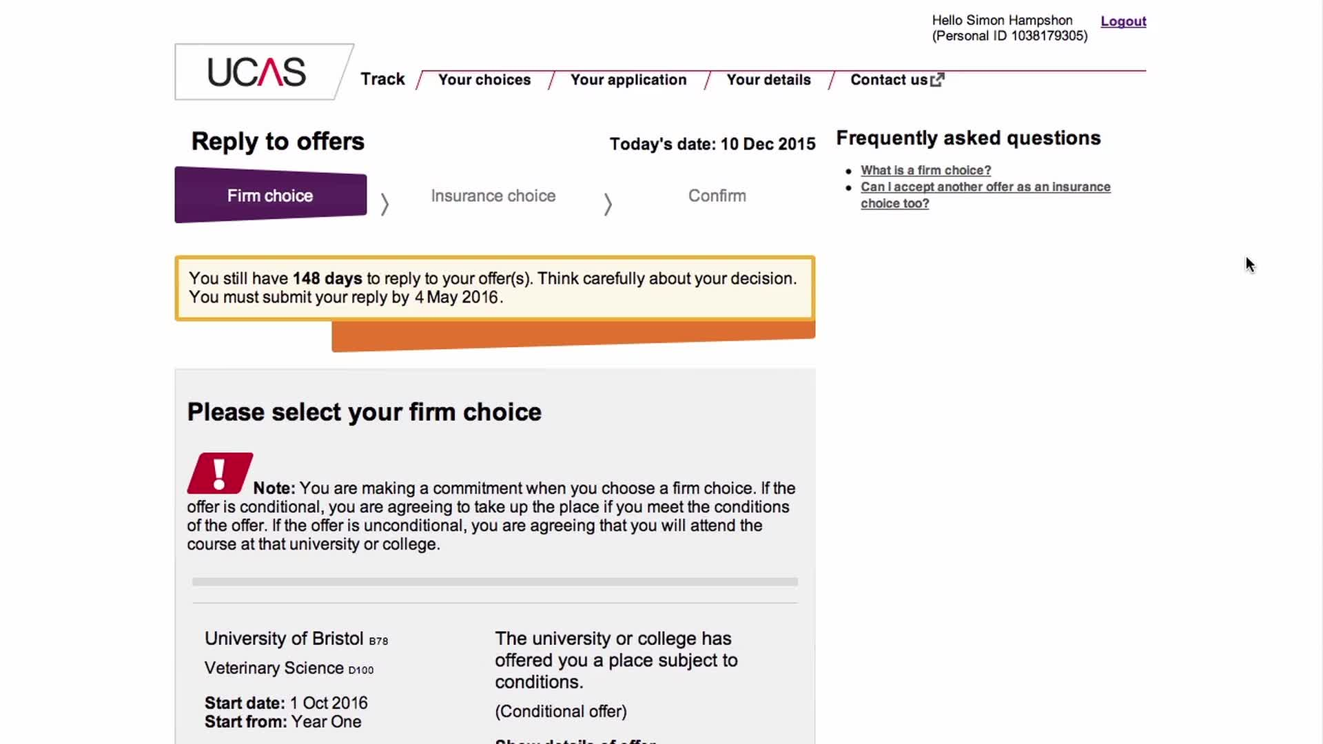 replying to offers ucas deadlines for accepting university offers
